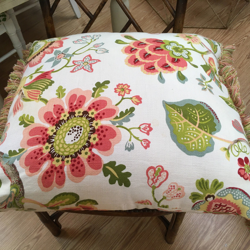 Item# 644<br /> Custom made pillow with a multi color floral pattern on a Cream background with multi color fringe<br /> Color - multi color<br /> Size = Euro<br /> Price - 69.00