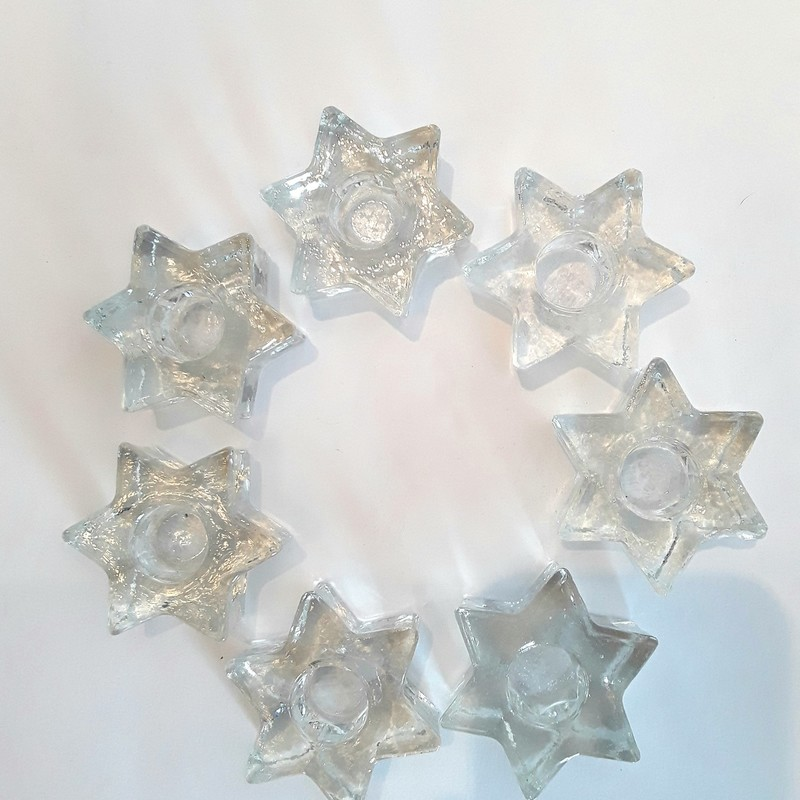 Set of 7 Glass Star Candle Holders.