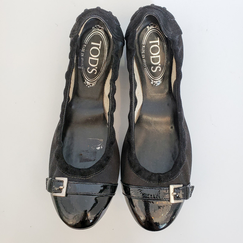 TODS<br />  Satin Flat, Black<br /> Size: 7.5 with Box