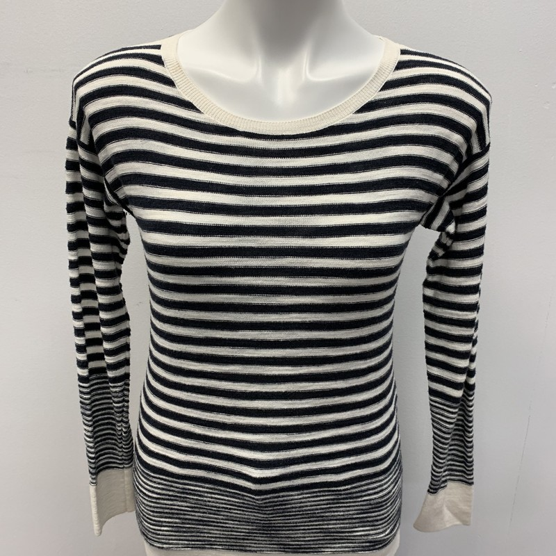 Ann Taylor Loft Top, White/Navy, Size: SPT<br /> <br /> Lightweight long sleeve stripe tunic top with 1/1/2 inch side slit.  Cotton viscose blend.