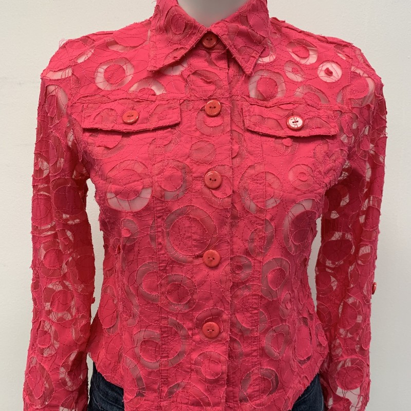Ruby Rd BD Shirt, Pink, Size: 4<br /> <br /> Semi sheer button down top or lightweight jacket.  Front pockets and roll sleeve.  Cotton polyester blend.