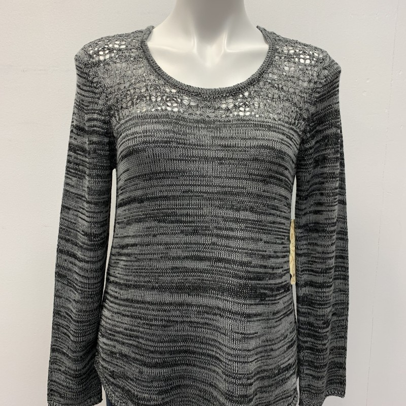 One World Top, Grey, Size: MPT<br /> <br /> Lightweight jpullove sweater with loose weave yoke and shirt tail hemline.  100% Acrylic.