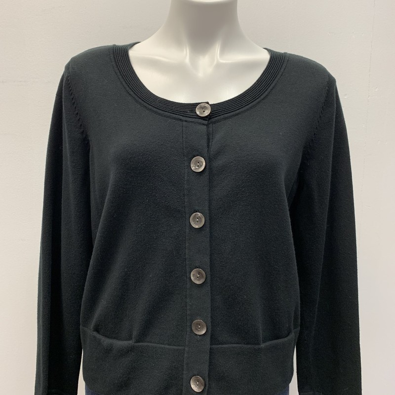 J Jill Cardigan, Black, Size: MPT<br /> <br /> Scoop neck line cardigan with front slit pockets.  Cotton nylon blend.