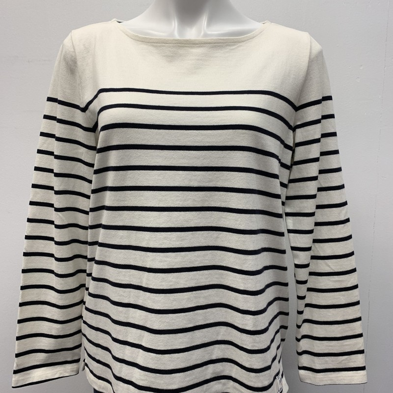 Talbots (Stamped on garme, Cream/Navy, Size: LPT<br /> <br /> Stripe pullover with 1/12 inch side slit.  Lightweight for summer.  100% Cotton.