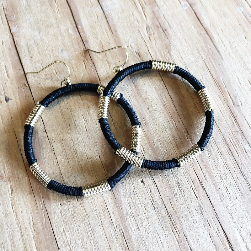 Wire Wrap Hoops - Black Gold