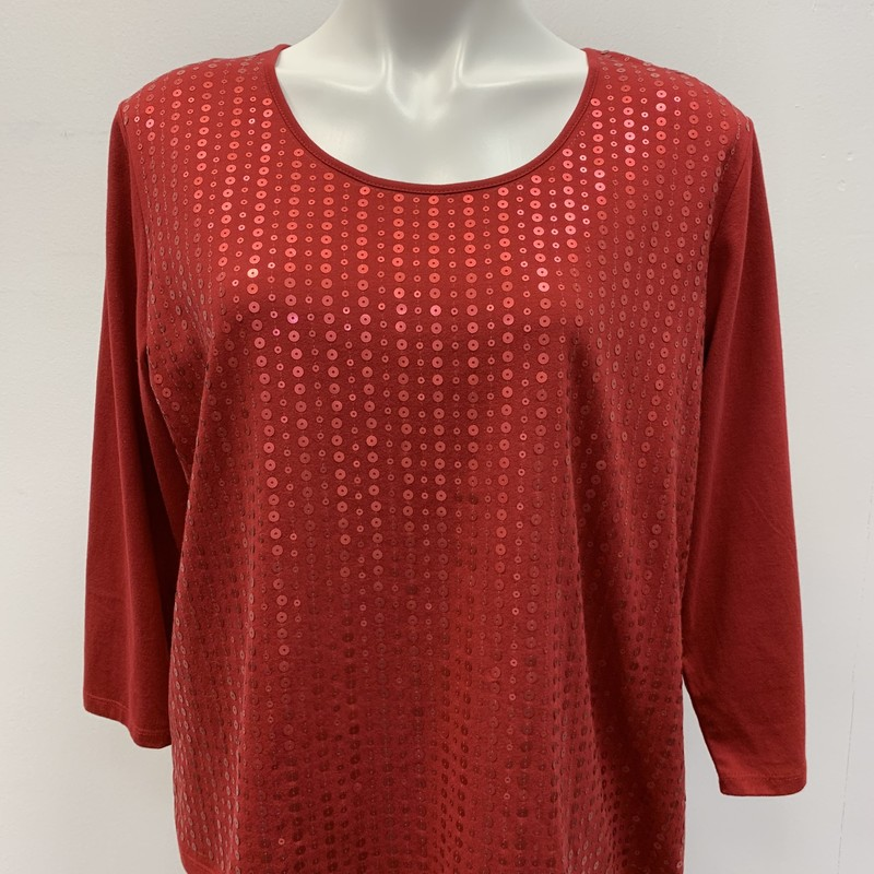 Tan Jay Top, Red, Size: LPT<br /> <br /> Sequin accent pullover top.  Cotton Polyester blend.