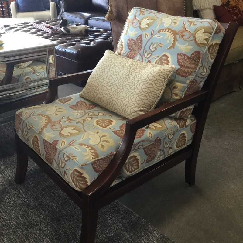 Miles Talbott Armchair, Floral Upholstery, Wood Frame