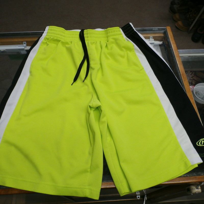 Rawlings Men&#039;s Basketball Shorts Neon Green Size Large 100% Polyester #17945<br /> Rating:   (see below) 3 - Good Condition<br /> Team: n/a<br /> Player: n/a<br /> Brand: Rawlings<br /> Size: Large - Men&#039;s (Measured Flat: across waist 15&quot;, length 23&quot;; inseam: 11&quot;)<br /> Color: Green<br /> Style: athletic shorts; drawstring; elastic waist; pockets<br /> Material: 100% Polyester<br /> Condition: 3- Good Condition - wrinkled; material is slightly faded and discolored; pilling and fuzz are present; a few minor snags<br /> Item #: 17945<br /> Shipping: FREE