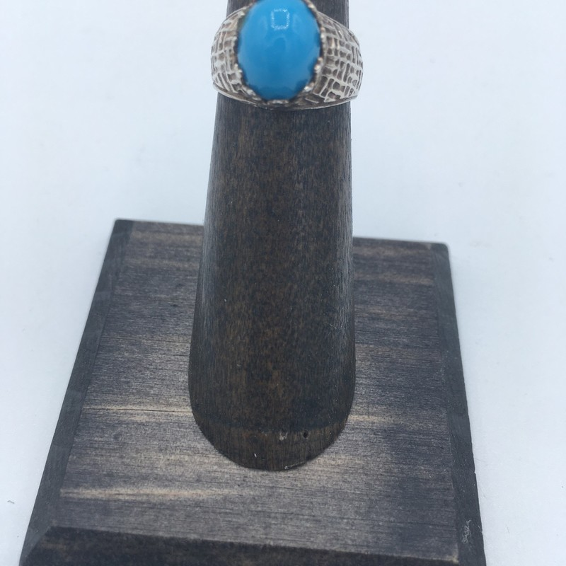 Item #759<br /> Turquoise stone ring set in a silver filigree setting , Size: Size - 4.75<br /> Price - 49.00
