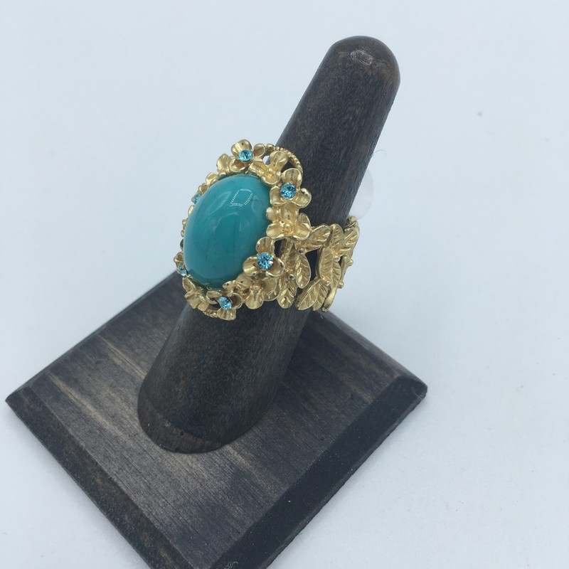 Item# 96<br /> Gold Stretch Turq Ring, Turquoise and Blue gemstone,<br /> Price - 29.00