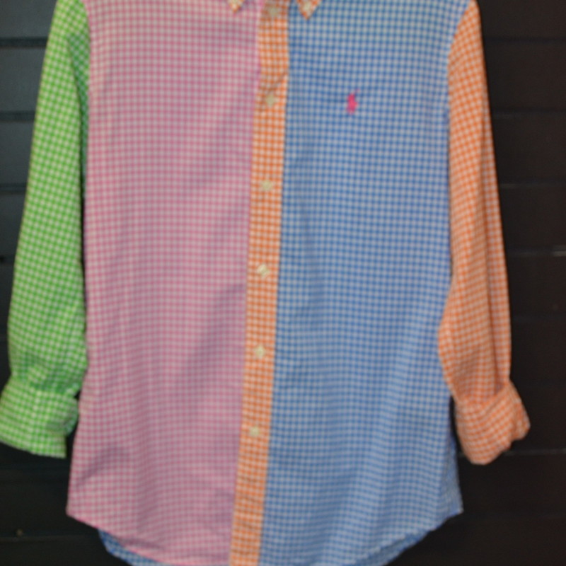Ralph Lauren<br /> Blue, pink, orange, and green<br /> Buttons up the front<br /> Long sleeved<br /> Light material<br /> Size 6