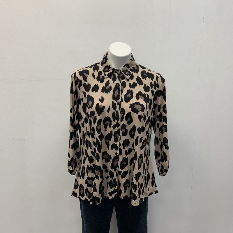 Knapp Studio BD Blouse, Tan/Black, Size: LPT<br /> <br /> Animal print button down with roll up sleeve option.  Polyester, Spandex