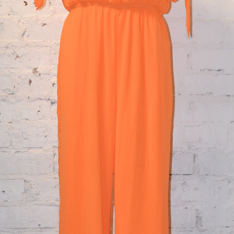 Bright orange<br /> Off the shoulder<br /> Elastic waistband<br /> Ties on the sleeves<br /> Size large
