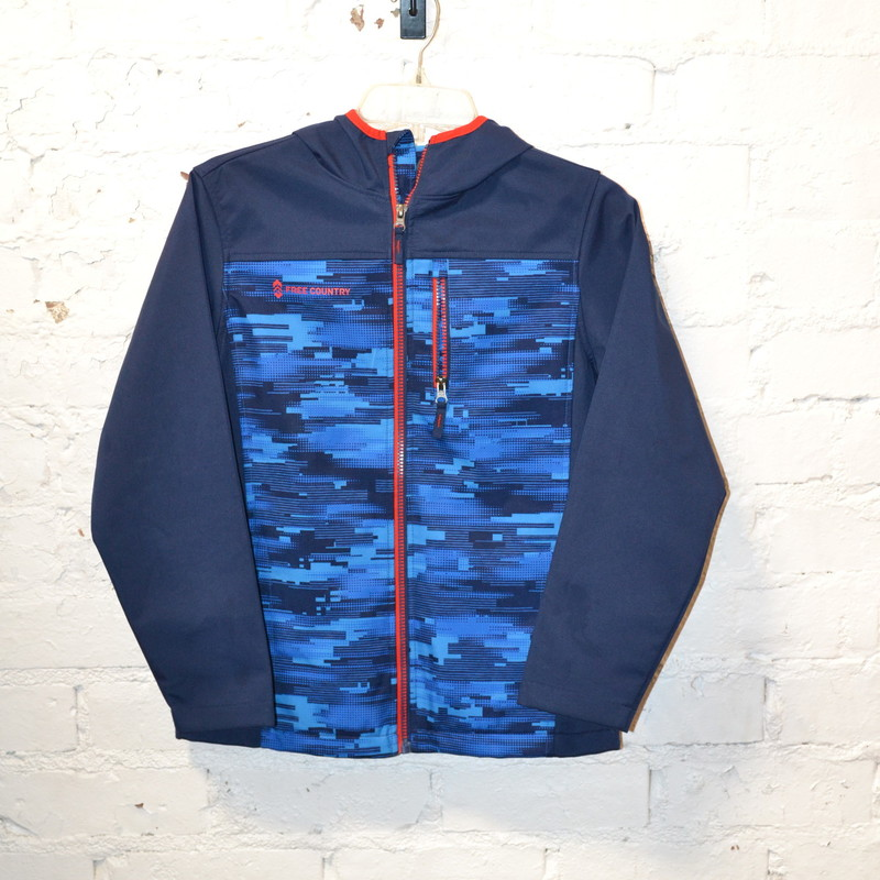 Free Country<br /> Blue and red<br /> Zips up the front<br /> Has a hood<br /> Zipper pocket on the chest<br /> Excellent condition<br /> Size extra large (10/12)
