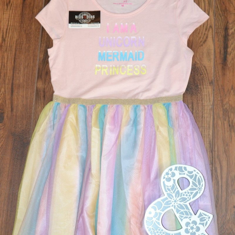 "New with tags<br /> Original price: $26.00<br /> Pink top<br /> ""I am a unicorn, mermaid, princess\""<br /> Multicolored sheer tutu bottom<br /> Size 16"