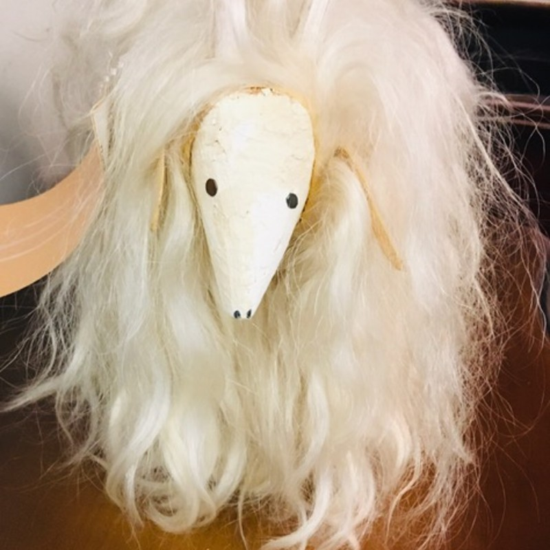 "Artisan Long Hair Ram Statue<br /> White, Size: 10"" X 7""H"
