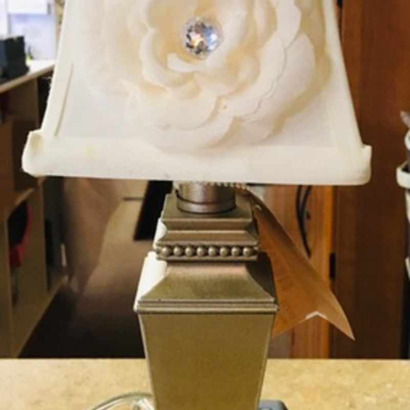 Mini Lamp Floral Shade<br /> Silver with Creme Shade, Size: 4x4x12H