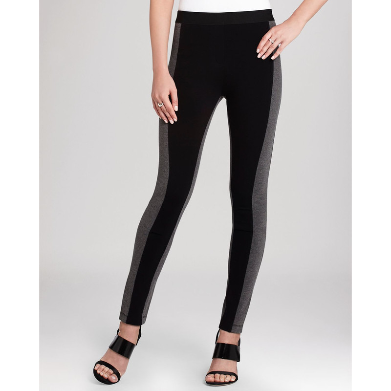 BCBG Max Azria Sasha Leggings like new cond. size med Orig. rtl: $138<br /> <br /> The Sasha Leggings are a two-toned pant with a high waist-line. The leggings have an elasticized waistband for a snug fit and are a great pair of bottoms for all your favorite basics.