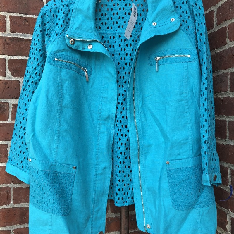Chicos, Turquois, Size: Plus/3<br /> 3/4 Sleeve<br /> Retail: $129