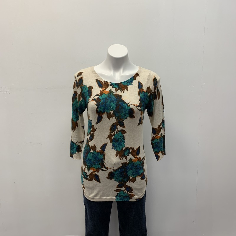 The Limited Top, Cream, Size: XS<br /> <br /> Cotton Viscose blend fabric.  Very nice pullover lightweight sweater with splashes of green, brown, blue and orange.