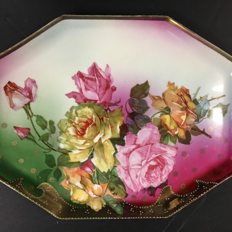 prussia dresser tray. Carl Schegel hand painted roses.