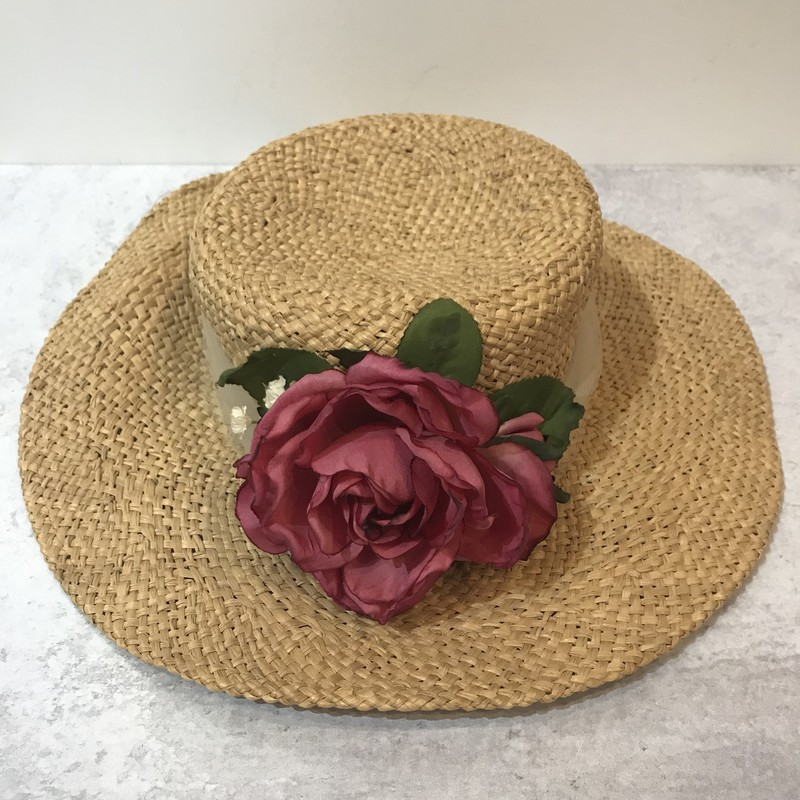 Hat Stuff, Straw, Silk fllower decoration in rose.Size: M