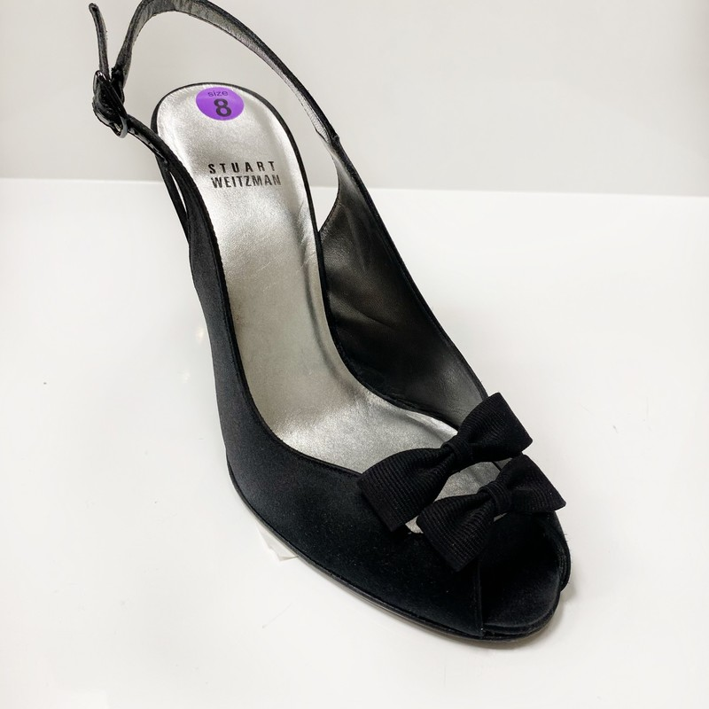 Stuart Weitzman Dubonne black satin heels size 8 lightly worn once near perfect condition Orig. rtl: $275