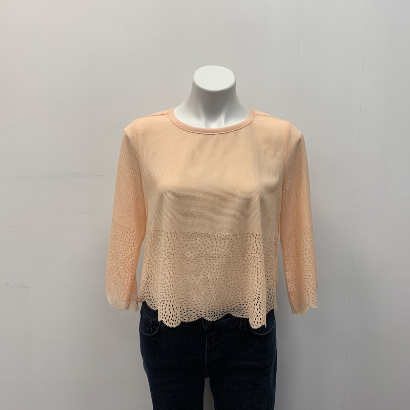 Bar 111 Top, Peach (L, Size: S<br /> <br /> Polyester/Cotton<br /> <br /> Very unique pullover top with back button closure.  Scalloped sleeves and hemline with tiny diamond shape cut out.  You will love it, soft peach color.