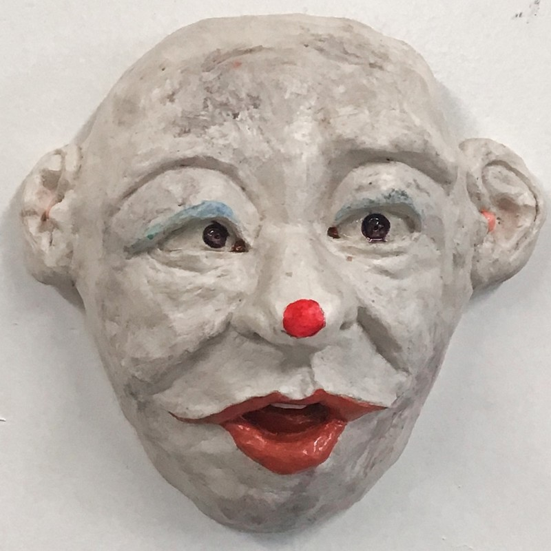 "Title: Clown Mask With Red Dot Nose, Artist: Fred Freeman, Medium: Clay, Size: 6""x6"""