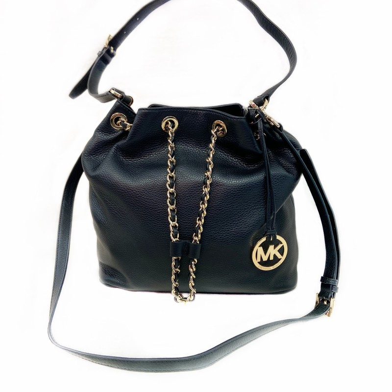 Blk Leather Chain Purse.