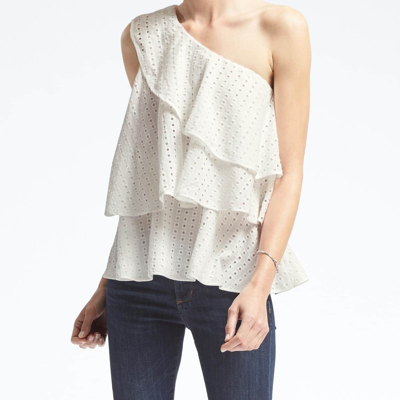 Banana Republic limited edition Limited Edition Tiered Eyelet One Shoulder Top size S, like new