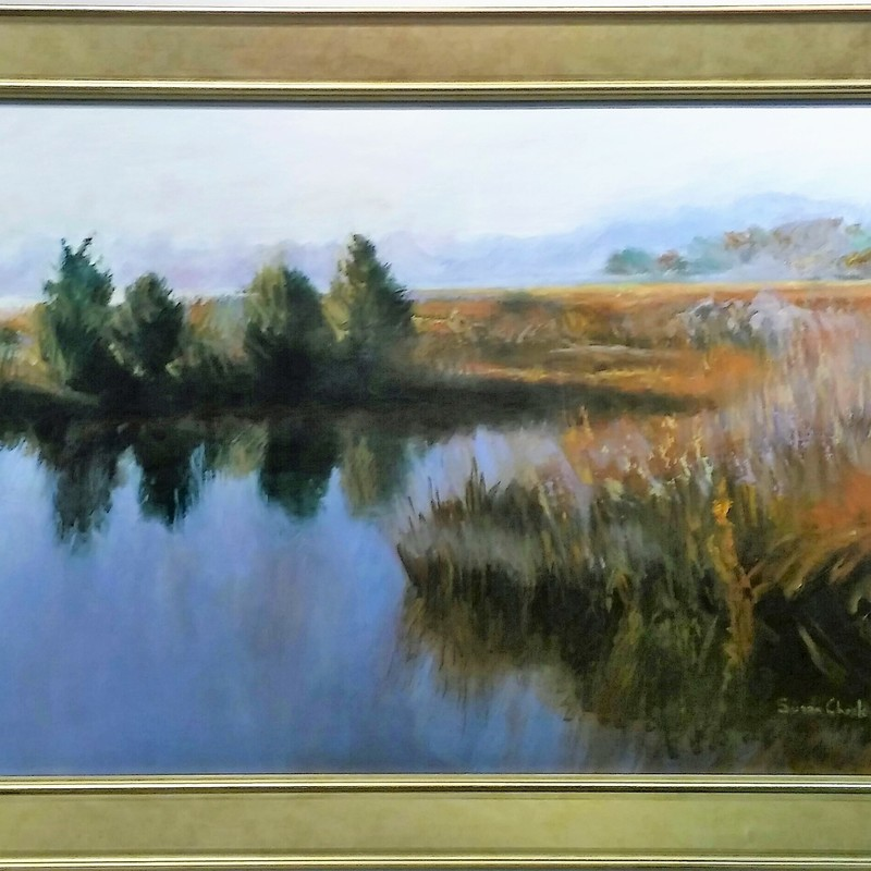 "Title:Marsh Grasses, Artist: Susan Check, Medium: Oil, Size: 20""x30\"" Framed, Statement: The location is Pleasure House Point, Virginia Beach."