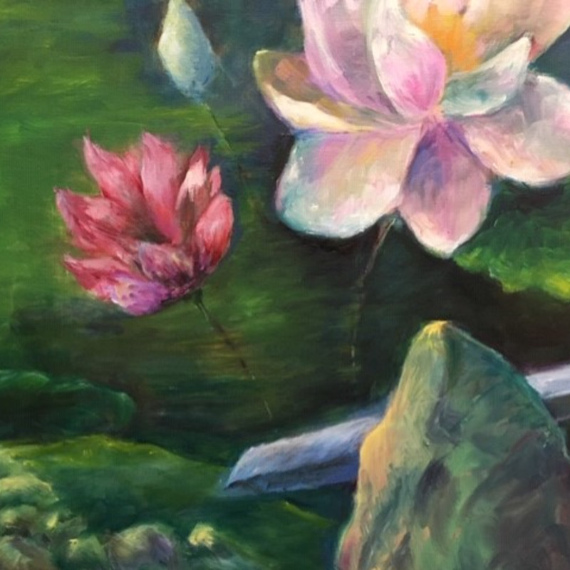 "Title: Lotus, Artist: Jean A. Hearst, Medium: Oil, Size: 15""x20"" unframed, Statement: Love the beautiful lotuses in bloom at Norfolk Botanical Gardens. I started painting this on site and completed it in the studio."