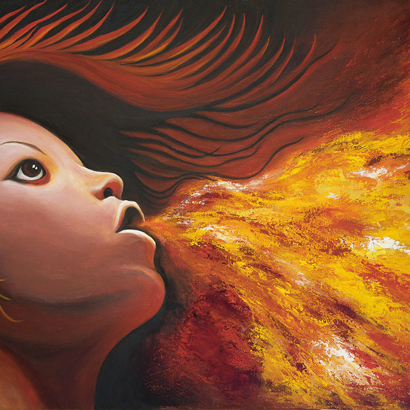 "Title: Breath Of Fire, Artist: Tonya Hopson, Medium: Acrylic on Canvas, Size: 24""x36\"" Framed, Statement: Inspired by the elements, this surrealistic painting was created with brushwork and palette knife for texture."