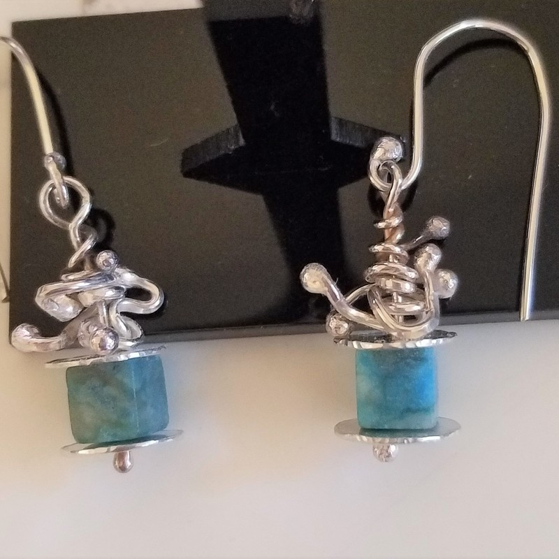 "Title: Playful, Artist: Joyce Gollogly, Statement: These delicate earrings are sterling silver with turquoise beads.  They hang 1.5"" from earlobe."