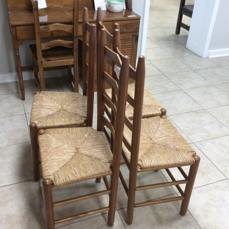 "BARGAIN ALERT!!! These darling little chairs are in fabulous condition. They are 19"" tall at the seat, solid wood, and have a light cherry finish. They feature rush seats, too! The ladder backs are slightly curved, for a more comfortable feel.<br /> feel. Priced to move at only $260!!"