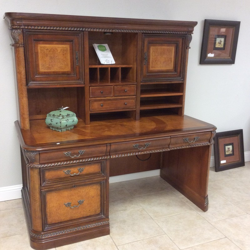BARGAIN ALERT!!! This ASPENHOME desk and hutch is well past it's heyday, but it is still quite beautiful. It features solid wood construction using a variety of woods, including pretty maple colored burled walnut inlays. There is abundant storage in this duo, including a lower lateral file, as well as lots of nooks and crannies.