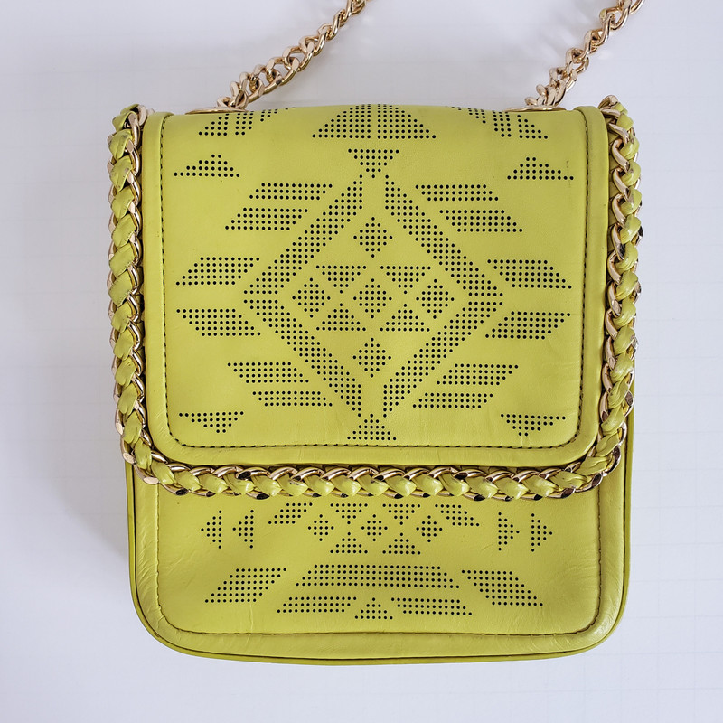 Henri Bendel<br /> Lime green crossbody with gold chain accents