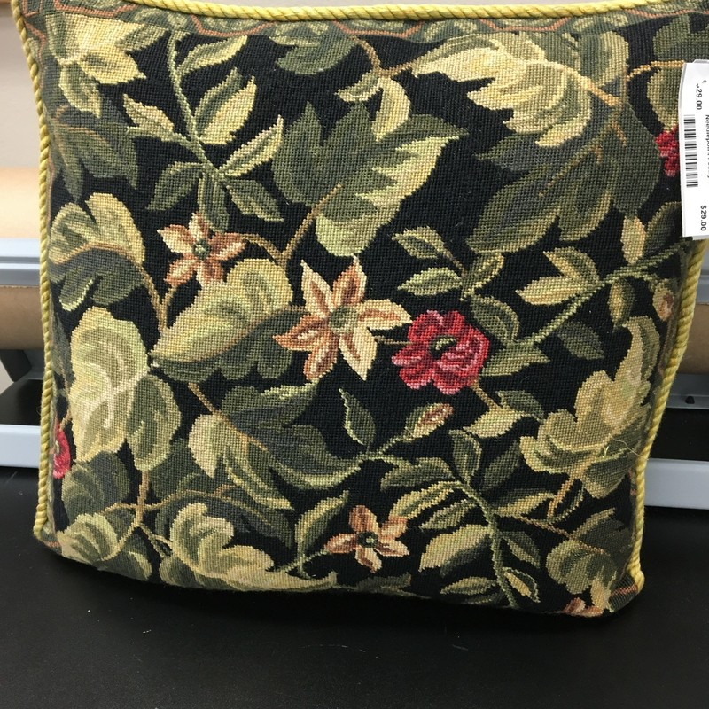 Needlepoint Foliage Pillo, Black, Size: 16x15 In