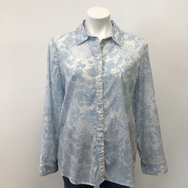 Chicos BD Blouse, White/Blue, Size: 1/8PT<br /> <br /> Lightweight button down top. Beautiful faded blue print.