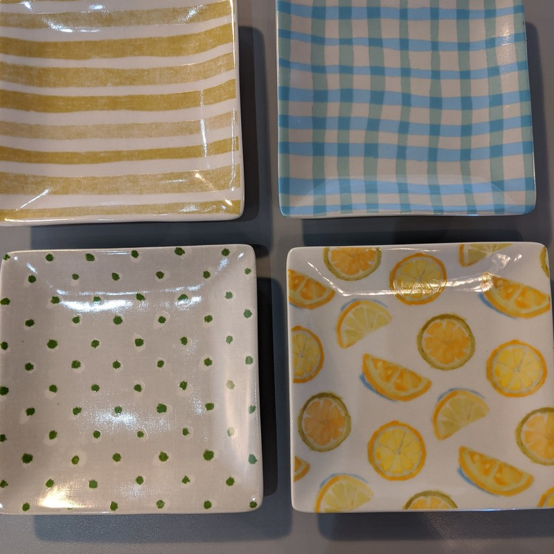 S/4 Tapas Plates in fun summer shades of blue,yellow and greens. Ceramic,, microwwave/dishwasher/oven safe.<br /> Featured at Be Kind Creative Designs