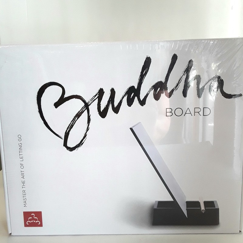 Buddha Board. Master the art of letting go with this paint with water board. Design slowly evaporates to be reused again like an adult etch-a-sketch. Originally $34.95 new with cellophane still on.