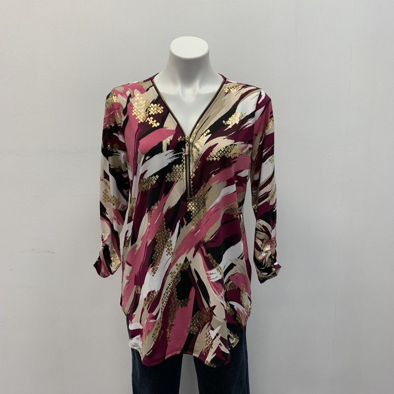 JM Collection Top, Gold/Pink, Size: M<br /> <br /> Polyester/Spandex<br /> <br /> Love, love this geo metallic print tunic with front zipper and accent sleeve.  Shirt tail hemline. Dress it up or down.  Nice addition to your waredrobe.