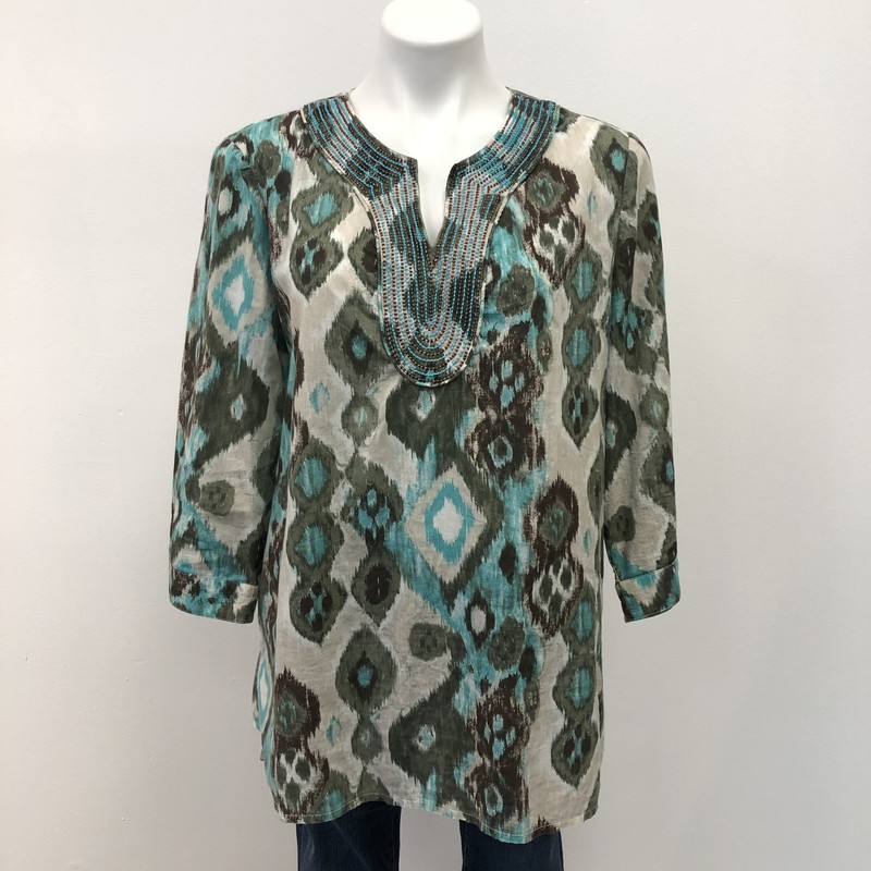 Chicos Tunic, Tan/Blue, Size: 2/12<br /> <br /> Lightweight, 100% cotton top. Beautiful brown and blue print with beading around the collar.