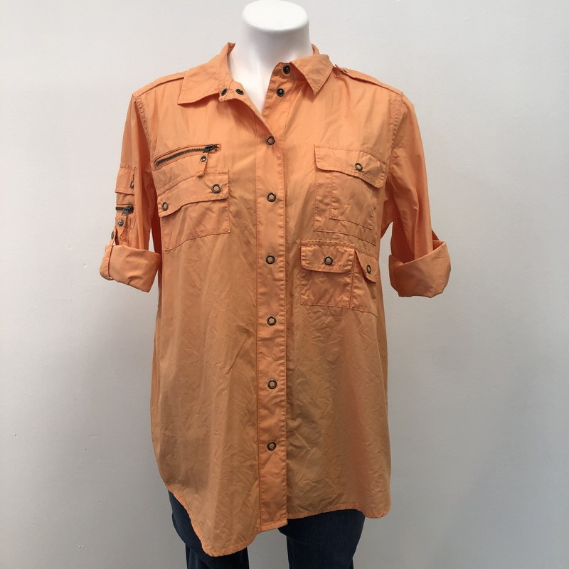 Chicos BD Shirt, Orange, Size: 2/12<br /> <br /> 100% Cotton button down with metal clasps fasteners. This casual top is details with pockets and metal zippers.