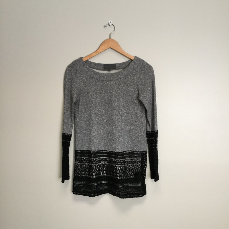 Sunday In Brooklyn Terry Top, Crochet Trim<br /> Size XS<br /> Grey/Black<br /> $27.00