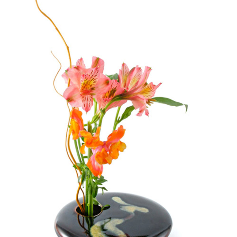 "Ikebana Vase. A modern design; an ancient idea. Ikebana is the Japanese art of flower arranging.<br /> Each vase is handmade of fine porcelain; individually glazed and decorated; fired in the kiln at 2500 degrees; and finished by permanently affixing a pin frog. The prongs of the pin frog pierce the stem allowing better water penetration; prolonging the life of the blooms for up to three weeks. It will handsomely display a few flowers with a style anyone can achieve.<br /> Round measure approximately 5.75"" dia<br /> Color may vary<br /> Made in the USA<br /> Sold by Zenful"