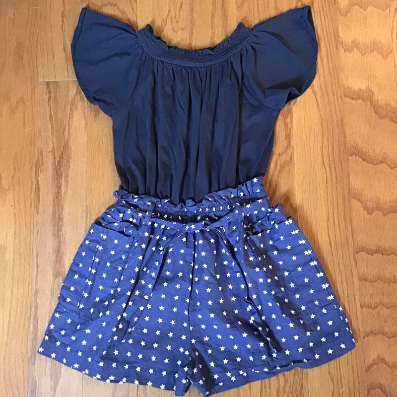 Crewcuts Romper, Navy, Size: 7<br /> <br /> <br /> light fading due to navy<br /> <br /> <br /> ALL ONLINE SALES ARE FINAL. NO RETURNS OR EXCHANGES. PLEASE ALLOW 1 TO 2 WEEKS FOR SHIPMENT.