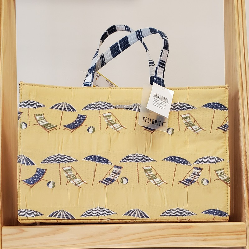 Celebrity NWT 2-PC<br /> Purse with makeup bag<br /> Yellow blue beach chairs<br /> NWT