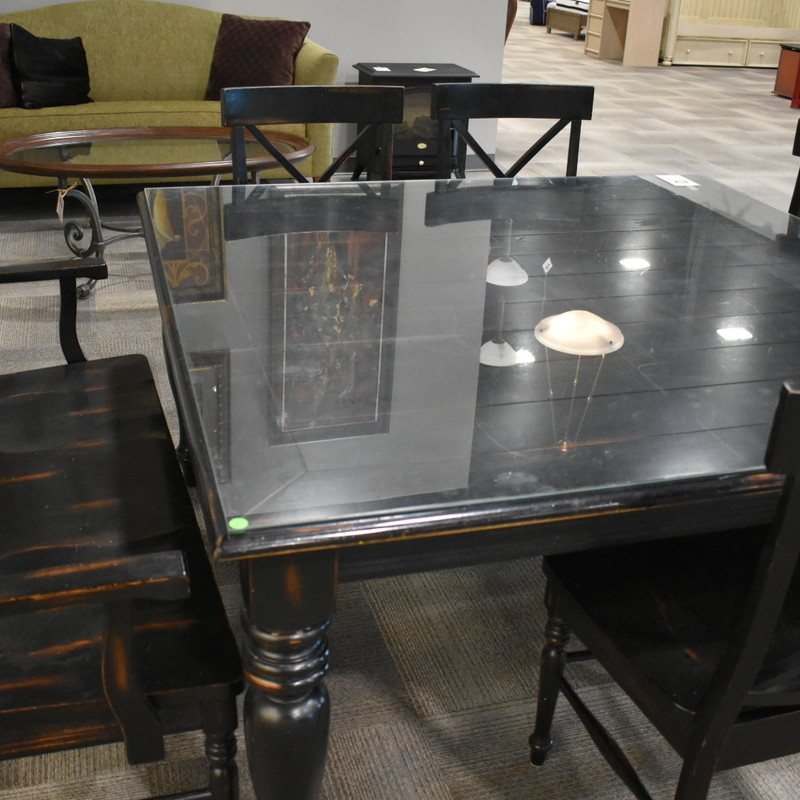 Black Dining Table w/ 6 Chairs & Bench